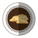 Emblem color croissant bread icon. Illustraction design image Stock Photo