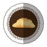 Emblem color croissant bread icon. Illustraction design image Stock Photos