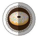 Emblem color donut with colored sparks icon Stock Photography