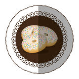 Emblem color donut with colored sparks icon Royalty Free Stock Photography
