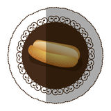 Emblem color hot dog bread icon Stock Photography