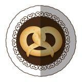 Emblem color pretzel bread icon. Illustraction design image Stock Photography