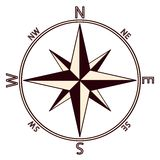 The emblem of the compass rose. Stock Photos
