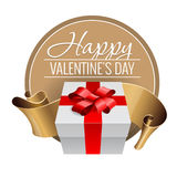 Emblem. Congratulations to the St. Valentine`s Day. Royalty Free Stock Image