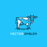 Emblem with cow - illustration for milk and dairy industry Royalty Free Stock Photography