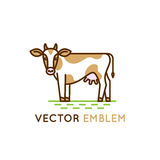 Emblem with cow - illustration for milk and dairy industry Stock Photo