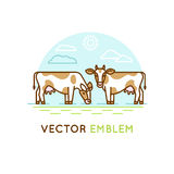Emblem with cows - illustration for milk and dairy industry. Vector logo design template in trendy linear style - emblem with cows - illustration  milk and dairy Royalty Free Stock Image
