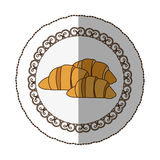 Emblem croissant bread icon. Illustraction design image Royalty Free Stock Images