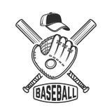 Emblem with crossed baseball bat and baseball glove. Design element for logo, label, emblem, sign, badge. Royalty Free Stock Photography