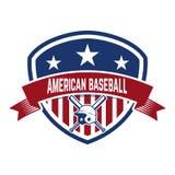 Emblem with crossed baseball bat and baseball helmet. Design element for logo, label, emblem, sign, badge. Royalty Free Stock Image