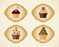 Emblem with cupcakes Stock Image