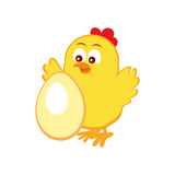 Emblem with cute chicken and egg Royalty Free Stock Photography