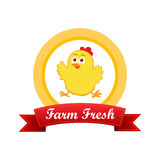 Emblem with cute chicken Royalty Free Stock Photography