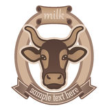 Emblem for dairy products or for the cattle indust. Icon of a cow, emblem for dairy products or for the cattle industry Stock Images