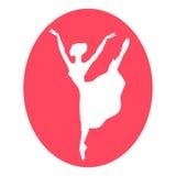 Emblem of dance ballet studio with ballerina Stock Photos
