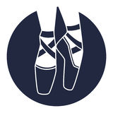 Emblem of dance studio with ballet pointe shoes.  Stock Photography