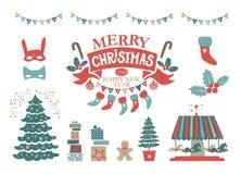 Emblem der frohen Weihnachten und des guten Rutsch ins Neue Jahr Gold stockbild