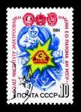 Emblem des Institut- und Kosmonautschweißens, 50. Jahrestag von P Stockbild