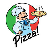 Emblem des lustigen Kochs oder des Bäckers mit Pizza Stockfoto