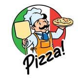 Emblem des lustigen Kochs oder des Bäckers mit Pizza Stockbilder