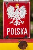 Emblem des Polnischen auf Grenze. Stockfotografie