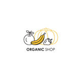 Emblem design template in line icon style for organic products - fruits and vegetables symbols. Stock Photo