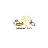 Emblem design template in line icon style for organic products - vegetables symbols in two colors - yellow and black. stock image