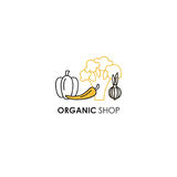 Emblem design template in line icon style for organic products - vegetables symbols in two colors - yellow and black. Stock Photo