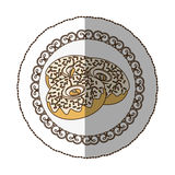 Emblem donut with colored sparks icon Royalty Free Stock Image