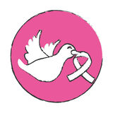 Emblem dove with breast cancer symbol in the beak Stock Photo