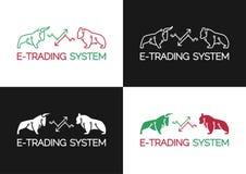 Emblem of Electronic Trading (E-Trading) System vector illustration