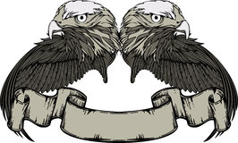 Emblem with eagle and wings and vintage banner. Stock Photos
