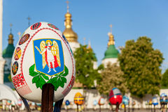 Emblem on the Easter egg. Kyiv, Ukraine, Sophia Square, 2 of May 2016 Royalty Free Stock Photos