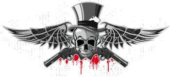 Emblem eines Schädels mit Pistolen Stockbild