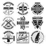 Emblem, emblem eller etiketter för frisersalong monokromma Stock Illustrationer