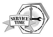 Emblem eller logo för bilservice eller reparation av bilar Klocka med skiftnycklar placera text Plats för teknisk service eller s arkivbild