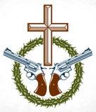 Emblem eller logo f?r brottslig gangster dramatiskt med Christian Cross som symboliserar d?d, tatuering f?r vektortappningstil, r stock illustrationer