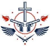 Emblem eller logo f?r brottslig gangster dramatiskt med Christian Cross som symboliserar d?d, vapen och olika designbest?ndsdelar vektor illustrationer
