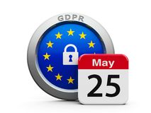 GDPR Day EU  2. Emblem of European Union with calendar button - The Twenty Fifth of May - represents the Implementation date 2018 of GDPR - General Data Royalty Free Stock Image