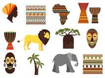 Emblem för Afrika safarivektor och plana symboler stock illustrationer