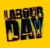 Emblem för arbets- dag av grungestil Internationell journal för arbetar`-dag Royaltyfri Fotografi