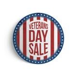 Emblem för cirkel för veterandag stort patriotiskt stock illustrationer