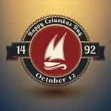 Emblem för Columbus dag med USA symboler Illustration för vektor EPS10 Fotografering för Bildbyråer