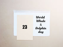 Emblem för dag för världsvaldelfin Juli 23 Arkivfoton