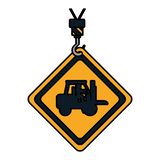 Emblem för färgvarningsdiamant med arbetare i gaffeltruck royaltyfri illustrationer