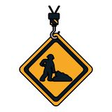 Emblem för färgvarningsdiamant med arbetare och skyffeln vektor illustrationer