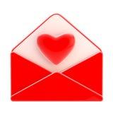 Emblem för förälskelsebokstav som rött kuvert med hjärta Royaltyfri Fotografi