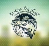 Emblem för fiske för tappninghavsforell, etiketter och designbeståndsdelar royaltyfri illustrationer