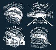 Emblem för fiske för tappninghavsforell, etiketter och designbeståndsdelar vektor illustrationer