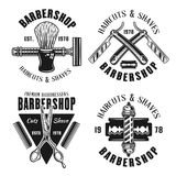 Emblem för frisersalong fyra i tappningstil Royaltyfri Illustrationer